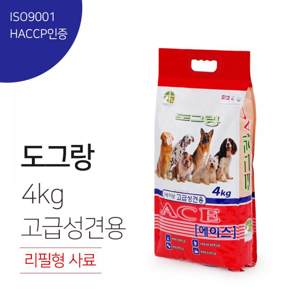 도그랑 에이스 1세이상 고급 성견용 리필형 사료 4kg